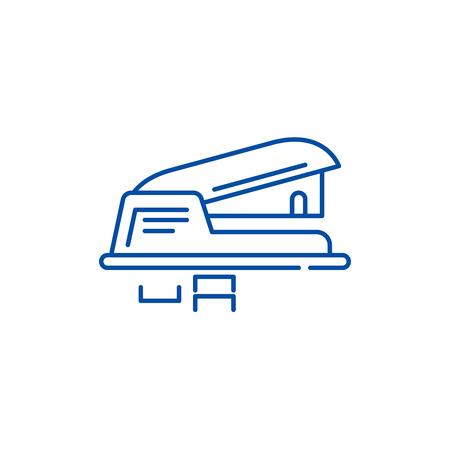 Hole puncher line concept icon. Hole puncher flat  vector website sign, outline symbol, illustration.  イラスト・ベクター素材