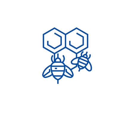 Honey bee line concept icon. Honey bee flat  vector website sign, outline symbol, illustration. 向量圖像