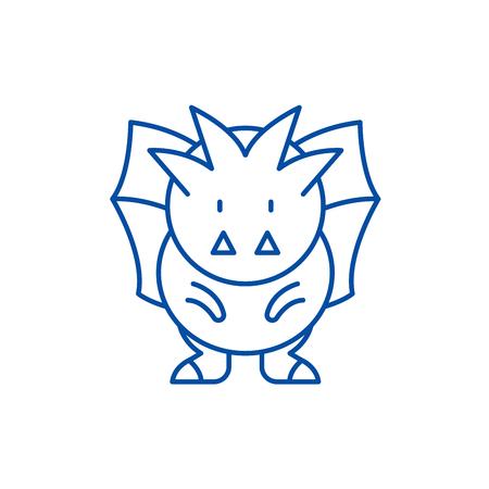 Horror line concept icon. Horror flat  vector website sign, outline symbol, illustration.