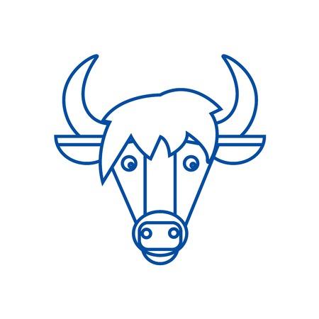 Horse head line concept icon. Horse head flat  vector website sign, outline symbol, illustration.