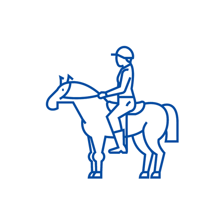 Horse racing,rider,horseman,jockey line concept icon. Horse racing,rider,horseman,jockey flat  vector website sign, outline symbol, illustration. Reklamní fotografie - 120073160