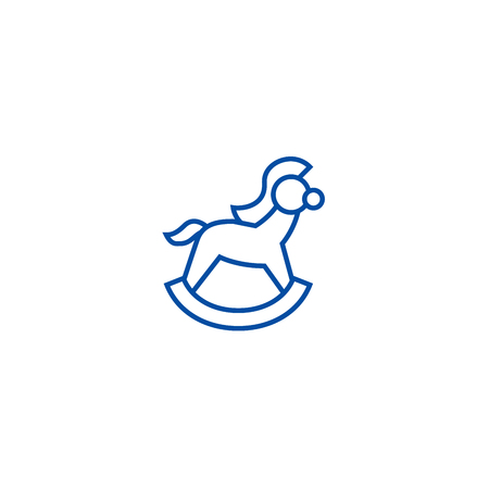 Horse toy line concept icon. Horse toy flat  vector website sign, outline symbol, illustration.