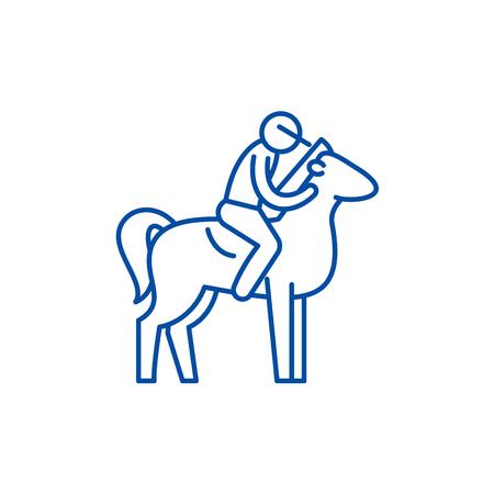 Horseback riding line concept icon. Horseback riding flat  vector website sign, outline symbol, illustration. Illustration