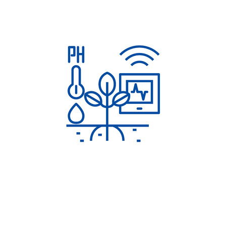 Horticulture automation line concept icon. Horticulture automation flat  vector website sign, outline symbol, illustration.