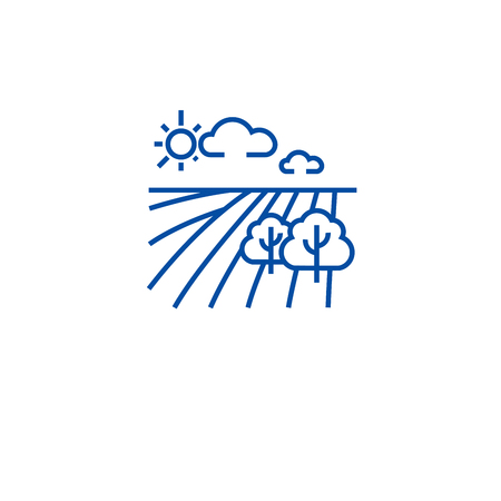 Horticulture concept line concept icon. Horticulture concept flat  vector website sign, outline symbol, illustration. Stock Illustratie