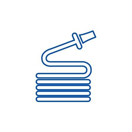 Hose line concept icon. Hose flat  vector website sign, outline symbol, illustration.