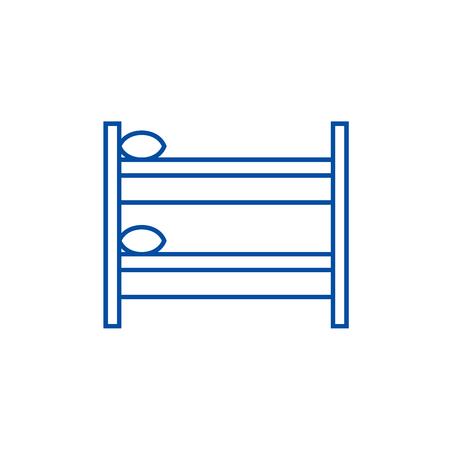Hostel line concept icon. Hostel flat vector website sign, outline symbol, illustration.
