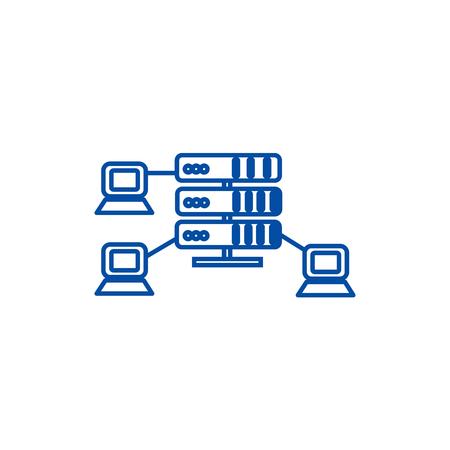 Hosting,network servers line concept icon. Hosting,network servers flat  vector website sign, outline symbol, illustration.