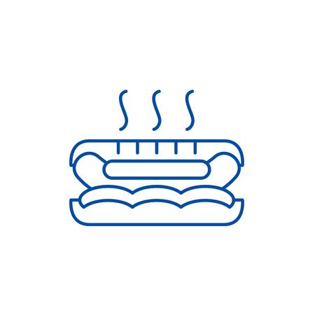 Hot dog line concept icon. Hot dog flat  vector website sign, outline symbol, illustration. Illustration