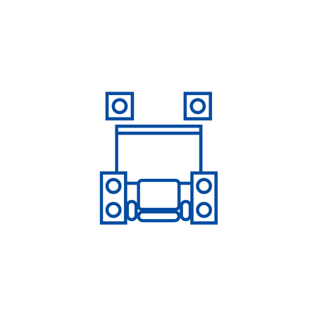 Home cinema theater line concept icon. Home cinema theater flat vector website sign, outline symbol, illustration.