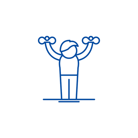 Home gymnastics line concept icon. Home gymnastics flat vector website sign, outline symbol, illustration.