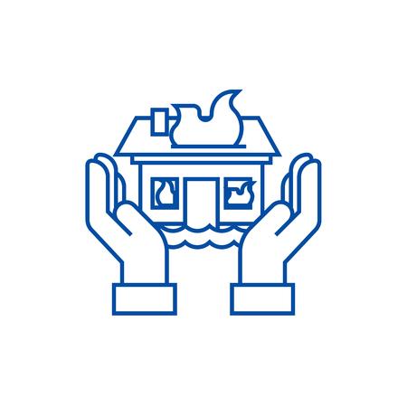 Home insuarance  line concept icon. Home insuarance  flat  vector website sign, outline symbol, illustration. Illustration