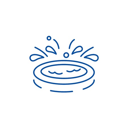Home kids pool line concept icon. Home kids pool flat vector website sign, outline symbol, illustration.