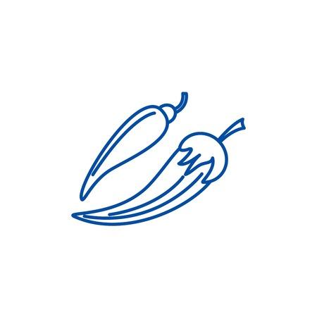 Hot pepper line concept icon. Hot pepper flat  vector website sign, outline symbol, illustration.