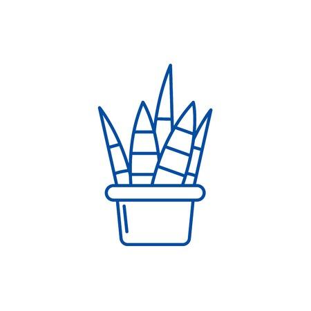 Home plant line concept icon. Home plant flat  vector website sign, outline symbol, illustration. Illustration