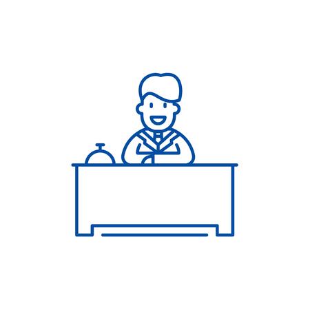 Hotel reception line concept icon. Hotel reception flat  vector website sign, outline symbol, illustration. Archivio Fotografico - 119714336