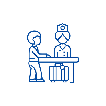 Hotel reception,receptionist at the table line concept icon. Hotel reception,receptionist at the table flat  vector website sign, outline symbol, illustration.