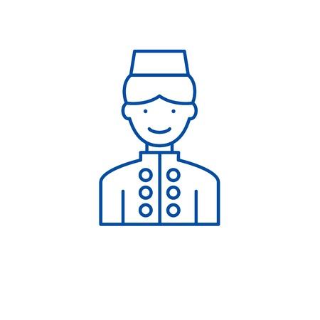 Hotel staff line concept icon. Hotel staff flat  vector website sign, outline symbol, illustration. Banque d'images - 119714342