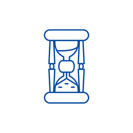 Hourglass line concept icon. Hourglass flat  vector website sign, outline symbol, illustration. Banque d'images - 119714343