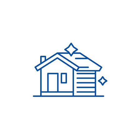 House cleaning line concept icon. House cleaning flat  vector website sign, outline symbol, illustration.
