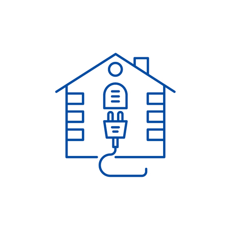 House electrical system line concept icon. House electrical system flat  vector website sign, outline symbol, illustration.