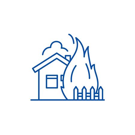 House fire line concept icon. House fire flat  vector website sign, outline symbol, illustration. Illustration