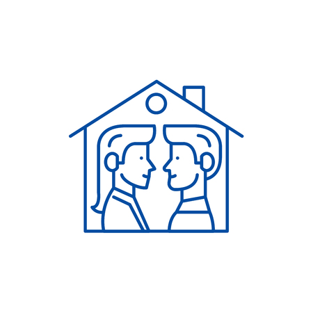 House for two line concept icon. House for two flat  vector website sign, outline symbol, illustration. Stock Illustratie
