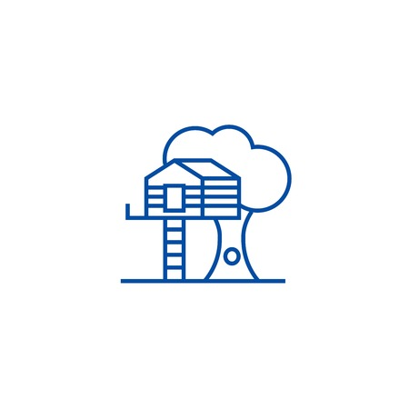 House on tree line concept icon. House on tree flat  vector website sign, outline symbol, illustration. Imagens - 119714374