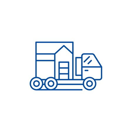 House transportation line concept icon. House transportation flat vector website sign, outline symbol, illustration.