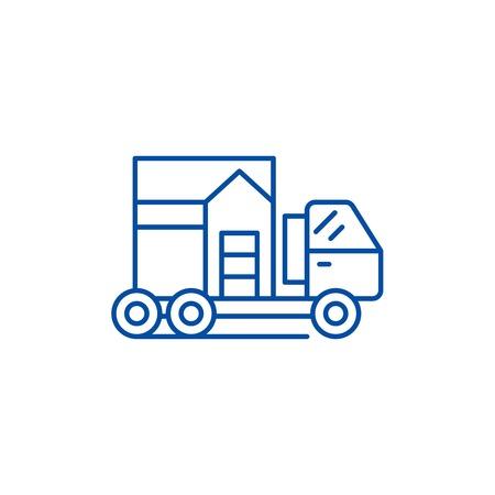 Icono de concepto de línea de transporte de casa. Casa transporte vector plano sitio web de señal, símbolo de contorno, Ilustración.