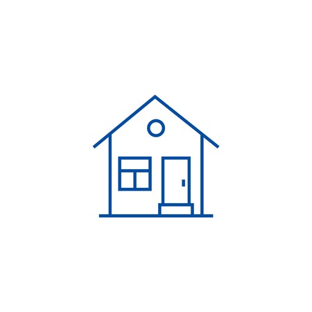 House with door line concept icon. House with door flat  vector website sign, outline symbol, illustration. 일러스트