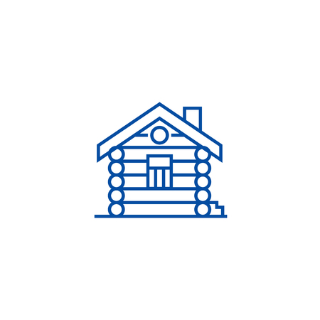 Casa,cabina,casa in legno icona del concetto di linea. Casa,cabina,casa in legno vettore piatto sito web segno, simbolo di contorno, illustrazione.
