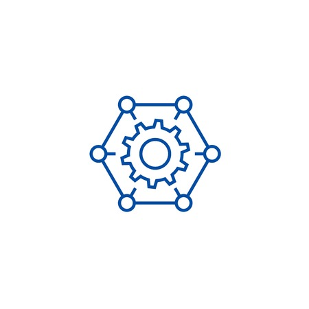 How it works,gears, settings line concept icon. How it works,gears, settings flat  vector website sign, outline symbol, illustration.
