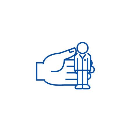 Human recources, key person line concept icon. Human recources, key person flat  vector website sign, outline symbol, illustration.