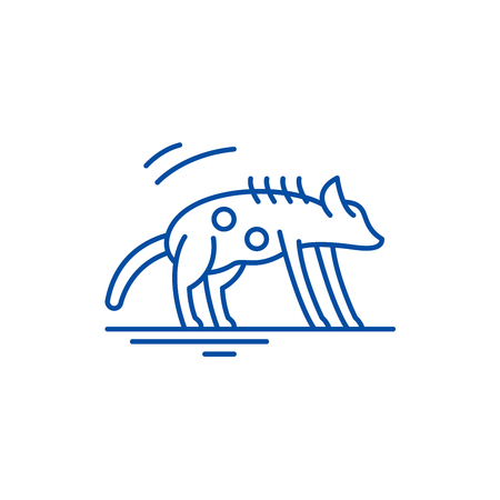 Hyena line concept icon. Hyena flat  vector website sign, outline symbol, illustration.  イラスト・ベクター素材