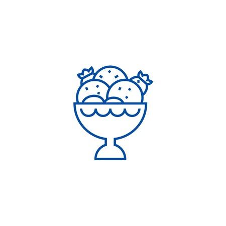 Ice cream bowl line concept icon. Ice cream bowl flat  vector website sign, outline symbol, illustration.