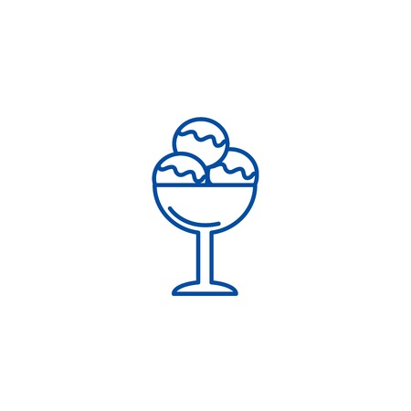 Ice cream cup line concept icon. Ice cream cup flat  vector website sign, outline symbol, illustration.