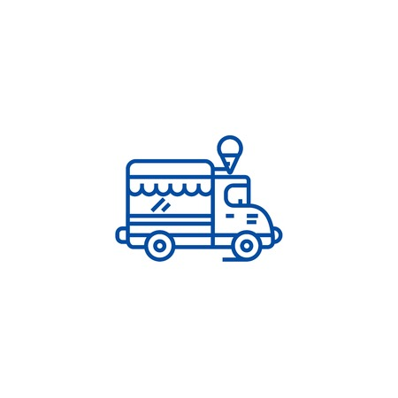 Ice cream, food truck line concept icon. Ice cream, food truck flat  vector website sign, outline symbol, illustration.