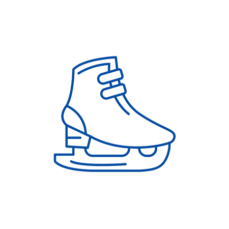 Ice skates line concept icon. Ice skates flat  vector website sign, outline symbol, illustration.