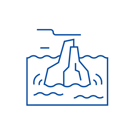 Iceberg line concept icon. Iceberg flat  vector website sign, outline symbol, illustration.