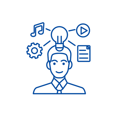 Idea generation businessman marketing plan line concept icon. Idea generation businessman marketing plan flat  vector website sign, outline symbol, illustration.
