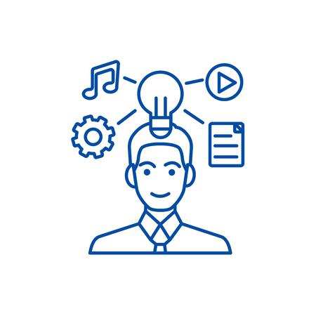Idea generation businessman marketing plan line concept icon. Idea generation businessman marketing plan flat  vector website sign, outline symbol, illustration.