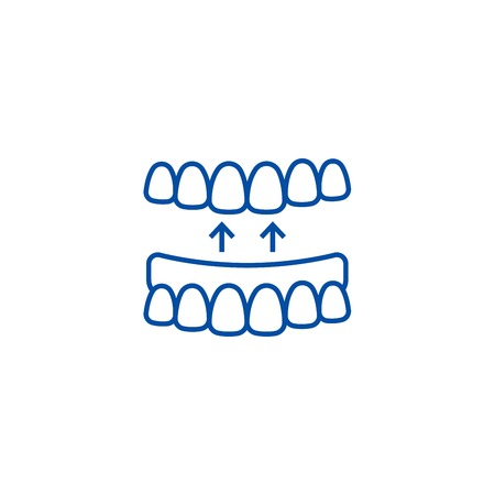 Implanted teeth line concept icon. Implanted teeth flat  vector website sign, outline symbol, illustration. Standard-Bild - 119714532