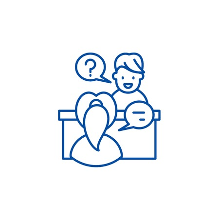 In depth interview line concept icon. In depth interview flat  vector website sign, outline symbol, illustration.