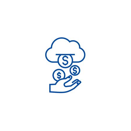 Reddito, flusso passivo, icona del concetto di linea di denaro. Reddito,flusso passivo,denaro vettore piatto sito web segno, simbolo di contorno, illustrazione. Vettoriali