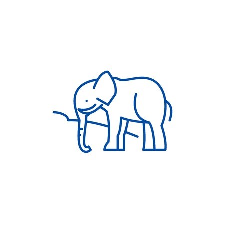 Indian elephant line concept icon. Indian elephant flat  vector website sign, outline symbol, illustration. Illustration