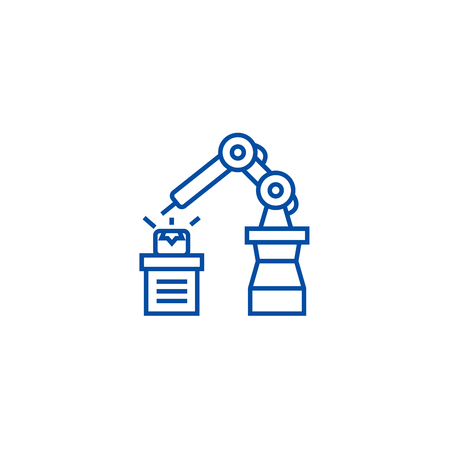 Industrial automation line concept icon. Industrial automation flat  vector website sign, outline symbol, illustration. Illustration