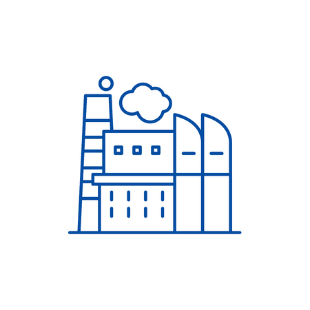 Industrial centre line concept icon. Industrial centre flat  vector website sign, outline symbol, illustration.