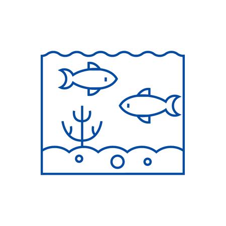 Inside sea  line concept icon. Inside sea  flat  vector website sign, outline symbol, illustration.