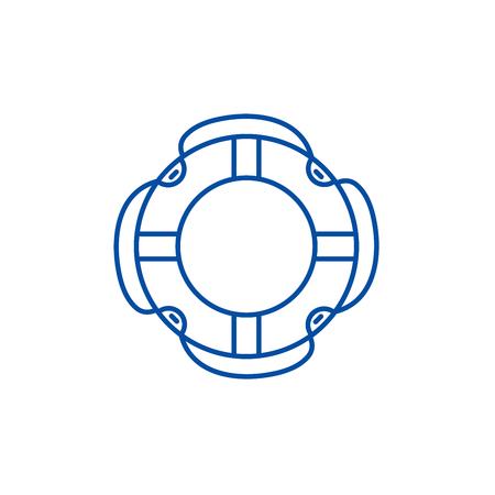 Insuarance lifebuoy line concept icon. Insuarance lifebuoy flat  vector website sign, outline symbol, illustration.